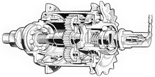 Sturmey Archer 3-speed hub cutaway